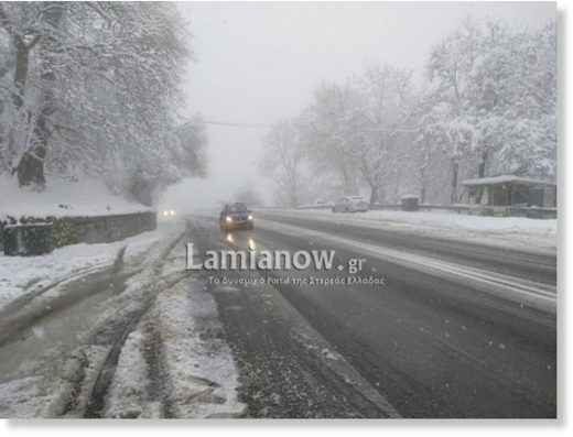 Difficult driving conditions in Fthiotida, central Greece