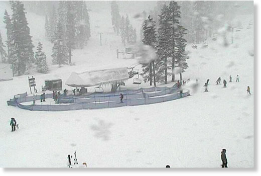 Skiers enjoy the fresh powder Saturday at Sierra-at-Tahoe