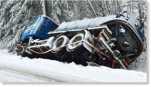 A lorry that slid off the road into a ditch