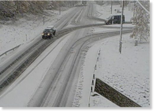 Snowy road conditions captured on traffic camera at Heinävaara, Route 74, 4th October 2019