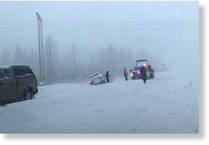 A car went off the road near Mile 78 of the Seward Highway south of the Portage turnoff on Monday, Jan. 27, 2020.