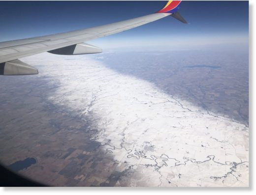 Rare narrow band of snow that stretches 150 miles long and 15