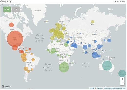 Répartition mondiale Sras-CoV-2 dec2019-dec2020
