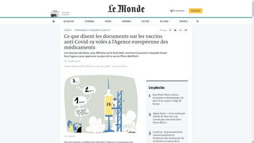 Vaccins Pfizer par Le Monde
