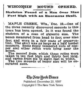 article squelette géant, Wisconsin